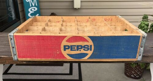 Vintage 1970s Pepsi Cola Wood Shipping Crate w / Dividers St Louis Missouri