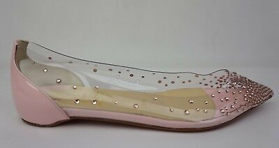 Christian Louboutin Degrastrass Pink Pompadour Bridal Crystal Flats Size 36.5