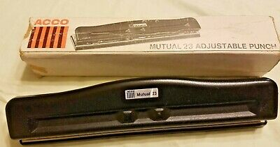 Vintage Acco Mutual 23 Adjustable Hole Punch 3 Hole Punch Usa Made With Box