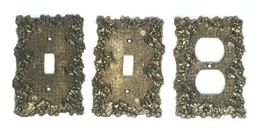 Vtg Lot of 3 Edmar Brass Light Switch Outlet Cover Plate Ornate Floral Victorian