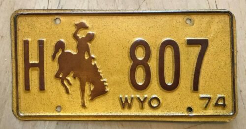 "1974 WYOMING HIGHWAY DEPT DOT  LICENSE PLATE "" H 807 "" WY 74  BUCKING BRONCO"