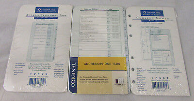Lot Of 3 New Franklin Covey Pocket Inserts Undated Month Addresstelephone Tabs