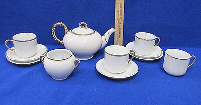 11 Piece Teapot Set Porcelain White w/ Gold Painted Accent Trim
