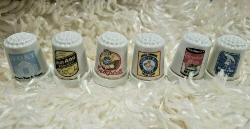 Advertising Vintage Thimbles-Campbell,Bon AmI,Ivory,Morton,Carnation,Arm LOT/6