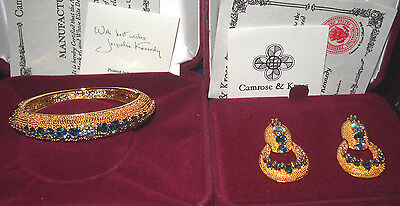 Camrose & Kross Jacqueline Jackie Kennedy Sim. Sapphire Bold Bracelet/Earrings for sale  Shipping to Canada