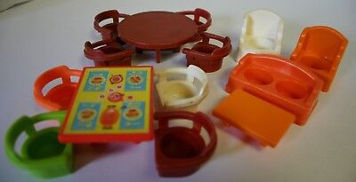 Fisher Price Little People Vintage Furniture Lot of 14 Sofa Tables Chairs