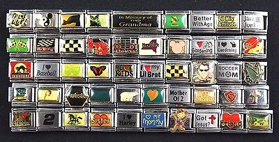 Italian Charms 50 assorted Stainless Steel Wholesale Lot 9mm  (C50-95)