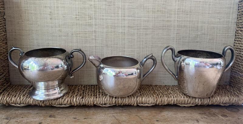 VNTG LOT 3 Silver On Copper Creamer & Sugar Bowls Academy, F B Rogers, Sheridan