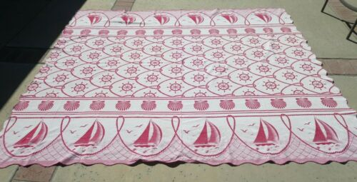 "vintage Bates twin bedspread or full coverlet 81""x99"" red cream nautical theme"