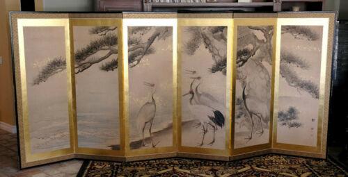 VGUC+ Japanese Byobu Large Hand Painted Silk 6-Panel Screen Cranes & Pine Tree