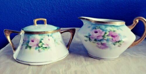 Vintage Porcelain Creamer & Sugar Hand-Painted by Abrigg Limoges OOAK Set!