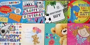 Pack of 8 Childrens Kids Birthday Greeting Cards for Girls Boys