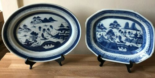 2 Lovely Antique Chinese Blue Canton or Nanking Platters