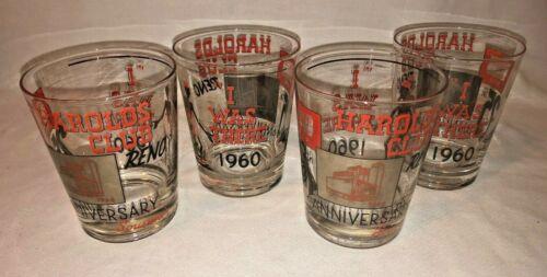 Vintage 1960 Harolds Club Reno 25th Anniversary Glasses Set of 4