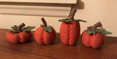 "Set of 4 felt handcrafted rickrack-trimmed pumpkins - 3"" to 5"" tall"