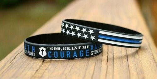 Thin Blue Line Silicone Bracelet 2 pk Policeman