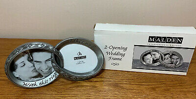 Malden ~ Pewter Wedding Ring Picture Frame With This Ring I Thee Wed Engagement Aluminum Frame Resin