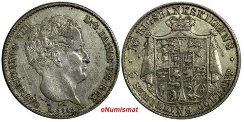 Denmark Christian VIII Silver 1842 FK//VS 16 Rigsbankskilling 2 Year Type KM#733