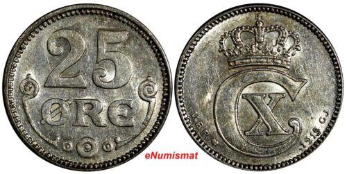 Denmark Christian X Silver 1915 VBP; GJ  25 Øre UNC KM# 815.1