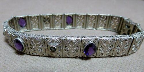 "Vintage ART DECO Marked JHP Fine Filigree Amethyst Crystal 7"" Rhodium Bracelet"