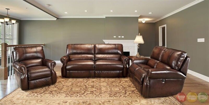 Parker Living Hawthorne Brown Real Leather Traditional Power Reclining Sofa Set
