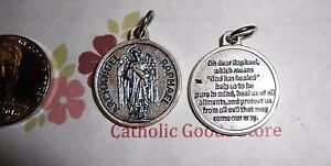 Saint St. Raphael the Archangel  - Silver Tone Round - Medal with Prayer.