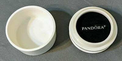 Pandora Porcelain Round White Trinket/Jewelry Jar/Box from Vtg Heart Gift Set