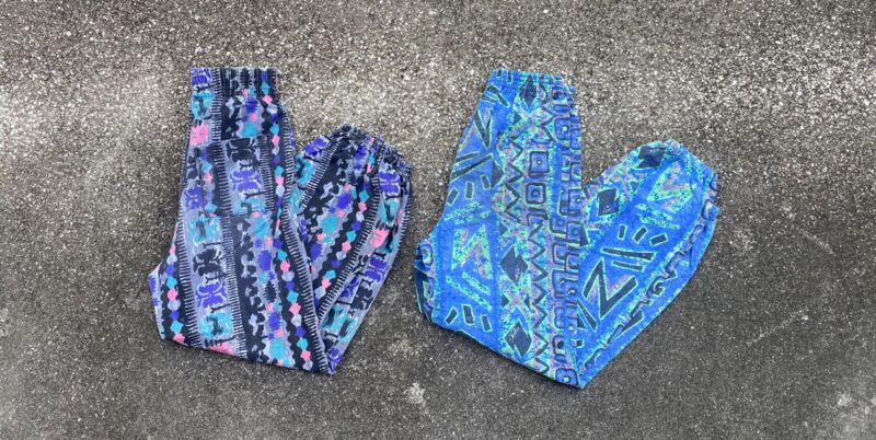 Vintage 80s Lot Of 2 Childrens Crazy Print Pants USA Made Sizes 6/8