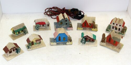 Vintage Old Mica Covered Cardboard Christmas Putz House Lot of 10 Made in Japan
