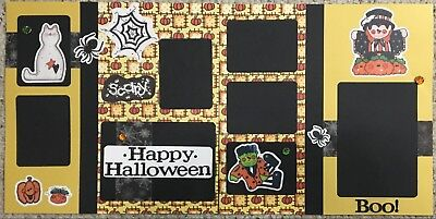 Pre-made two (2) page Scrapbook layout Halloween 'Happy Halloween' 12x12 - Happy Pre Halloween
