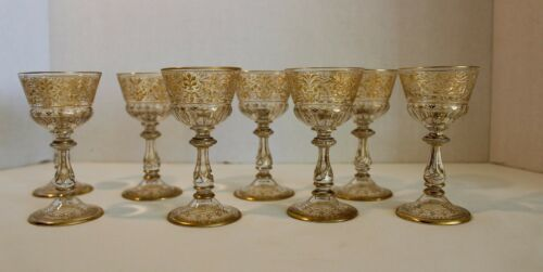 RARE & BEAUTIFUL SET OF MOSER GOLD GLASS SERVICE 19TH CENTURY