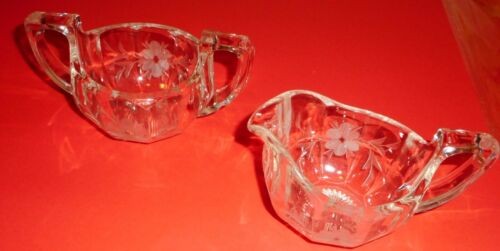 Vintage Clear Glass Etched Creamer and Sugar Bowl Floral Pattern Chipped