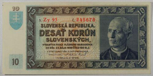 Slovakia … P-4s … 10 Korun … 1939 ... *UNC*.  Specimen