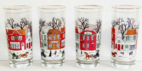 "Set of 4 Libbey Winter Village Christmas street scene 6 1/4"" tumblers glasses"