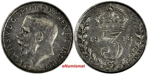 Great Britain George V Silver 1918 3 Pence Maundy KM# 813 (17 264)