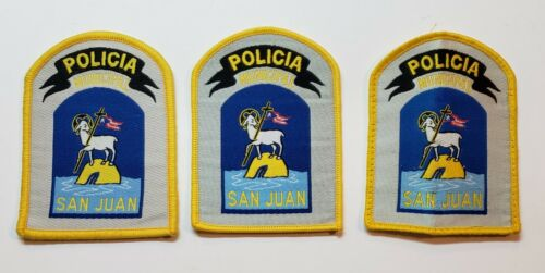 VINTAGE OBSOLETE POLICE PATCH LOT OF 3 / POLICIA MUNICIPAL / PUERTO RICO #5