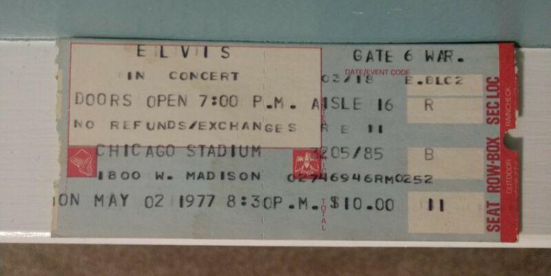 Original Elvis Ticket Stub May 02, 1977 Last Tour Chicago Stadium