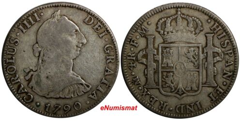 Mexico SPANISH COLONY Charles IV Silver 1790 Mo FM 4 Reales SCARCE KM# 99