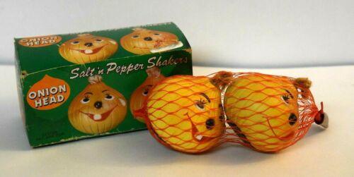 Vintage Salt Pepper Shakers Onion Head 1981 Anthropomorphic Original Box
