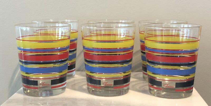 "6 Mambo Fiesta Yellow Red Blue Cobalt Striped 4 1/2"" Tumblers Glasses"