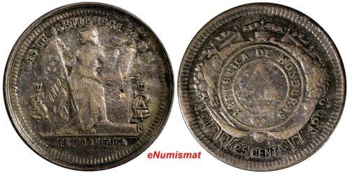 Honduras Silver 1892/1 25 Centavos OVERDATE Toned 24 mm KM# 50