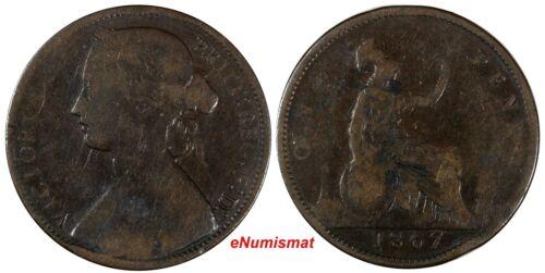 Great Britain Victoria Bronze 1867 1 Penny SCARCE DATE KM# 749.2 (17 138)