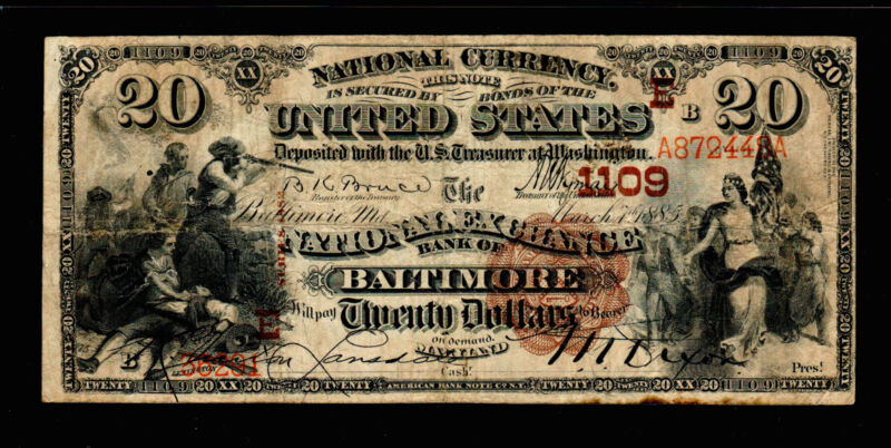 1885 $20 Large Size National  FR494 Charter Baltimore