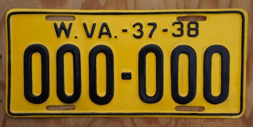 1937 1938 West Virginia Sample License Plate