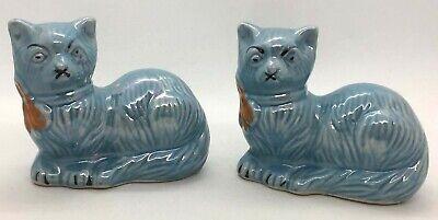 2 Lustreware Blue Ceramic Cats Opalescent Made In Brazil Vintage #20H