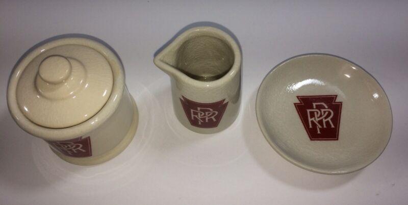Pennsylvania Railroad Red Keystone Creamer, Sugar & Butter Pat 4 Pieces