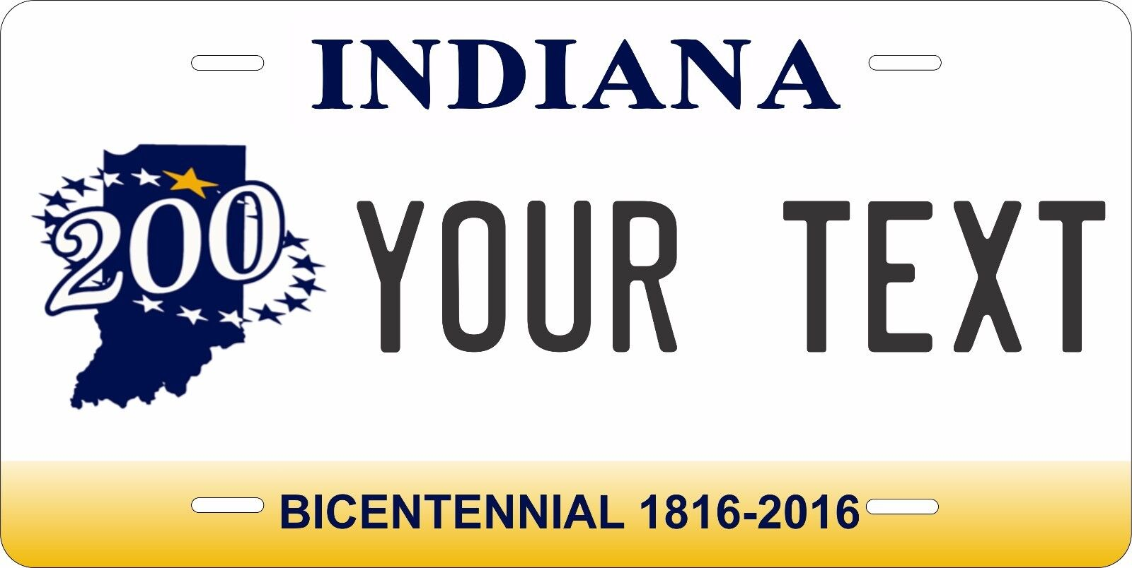 ANY TEXT CUSTOM PERSONALIZED ALUMINUM BICYCLE STATE LICENSE PLATE-INDIANA BIKE