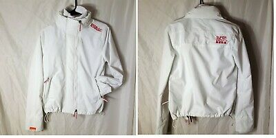 Superdry The Windcheater Jacket Coat Womens Size M WHITE Triple Zip Japan EUC