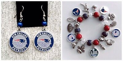 New England Patriots super Bowl Champions 2019 Earring and Charm Bracelet