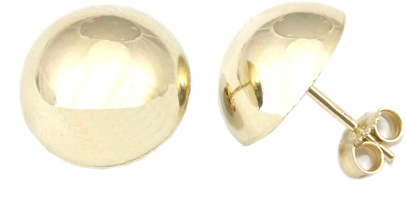 Damen Ohrringe Ohrstecker echt Gold 585 Halbkugel 12 mm Stecker Kugel Gelbgold